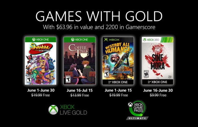 Xbox Games with Gold June will feature four new games